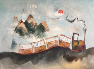 Whimsical painting of a train by Smigielski | Foggy Mountain Pass