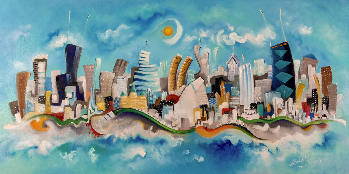 horizontal Chicago skyline print | blue cityscape art | whimsical buildings