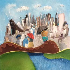 Chicago skyline oil painting | cityscape original art | rainy day scene
