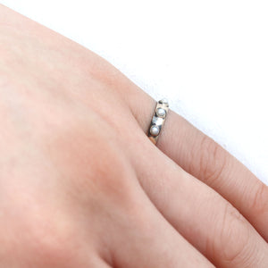 pre antique 3 baby pearl ring