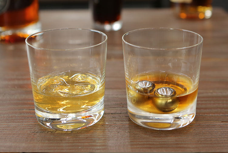 Balls of Steel Whiskey Chillers with the perfect whiskey glass