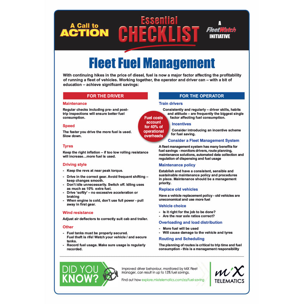 Fleet Fuel Management - Essential Checklist