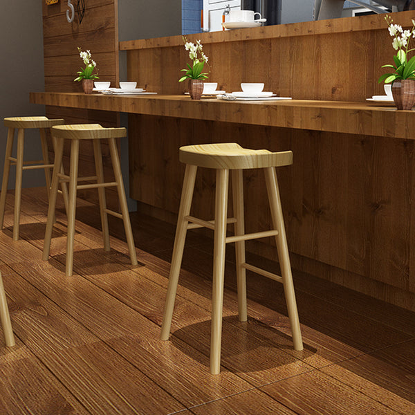 Solid Wooden Dining Chairs Bar Stool Home Coffee Bar Height Barstool - Selectros