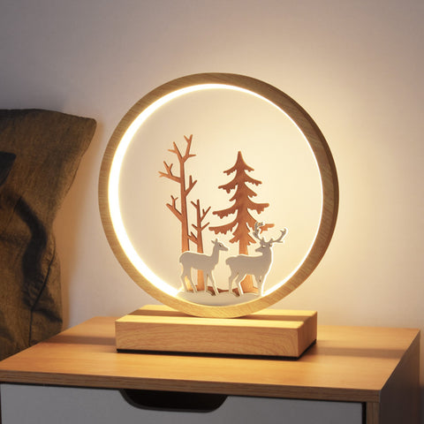 Decorative Wooden Bedside Lamp LED Desk Nightstand Light - Selectros