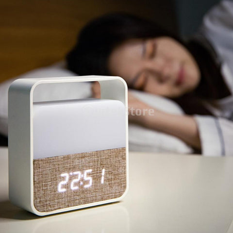 Portable Night Lights Digital Alarm Clock LCD Display Clock Home Decor - Selectros