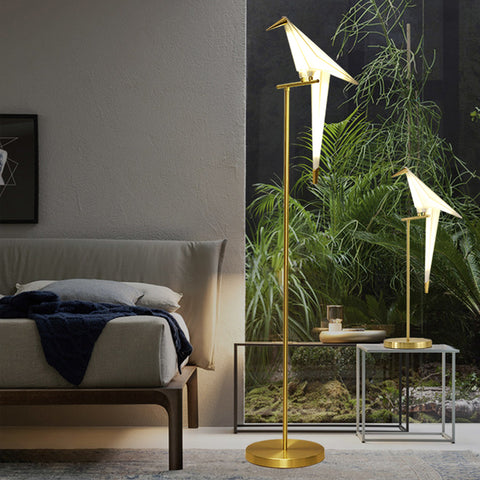 Floor Standing Lamp Paper Crane Living Room Bedroom Bedside Lamp - Selectros