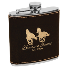Load image into Gallery viewer, 6 oz Leatherette Flasks