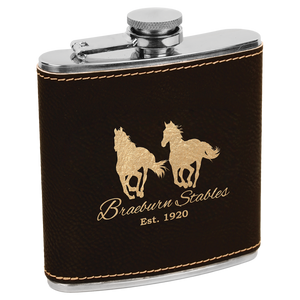 6 oz Leatherette Flasks