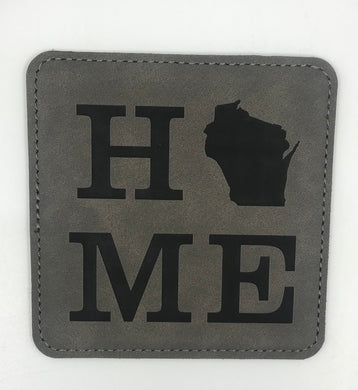 Square Leatherette Coaster {HOME Wisconsin}