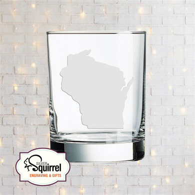 Double Old Fashioned Glass {Wisconsin Silhouette}