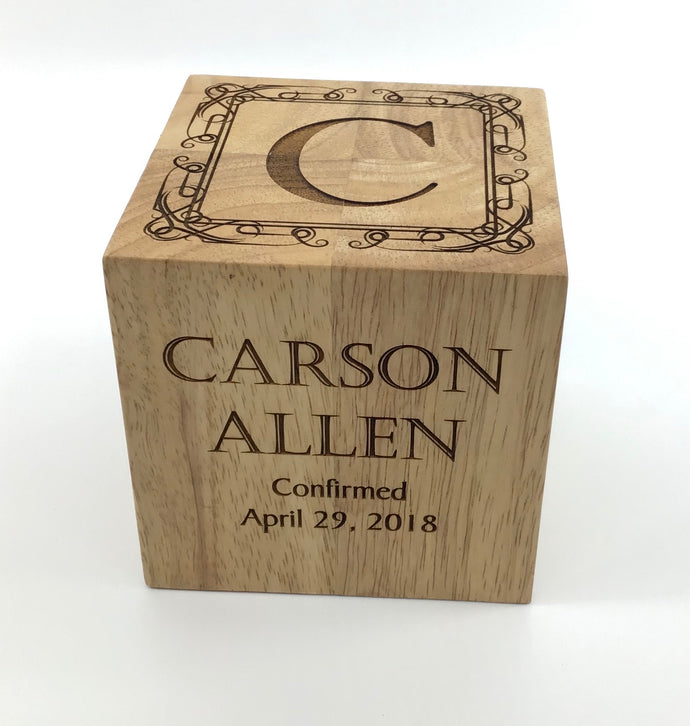Confirmation Rubber Wood Block 4x4