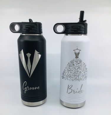 Bride Groom Water Bottle Set