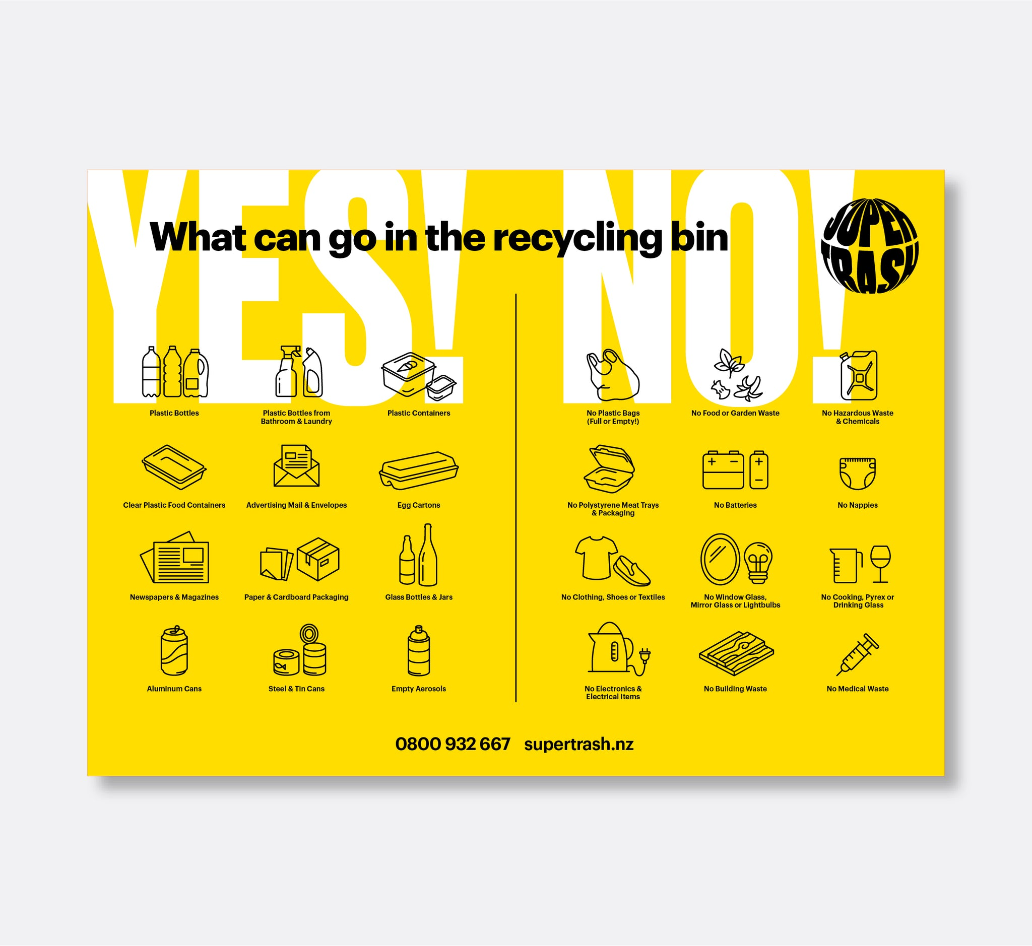 What can go in the recycling bin sticker<mark>A4 Size</mark>