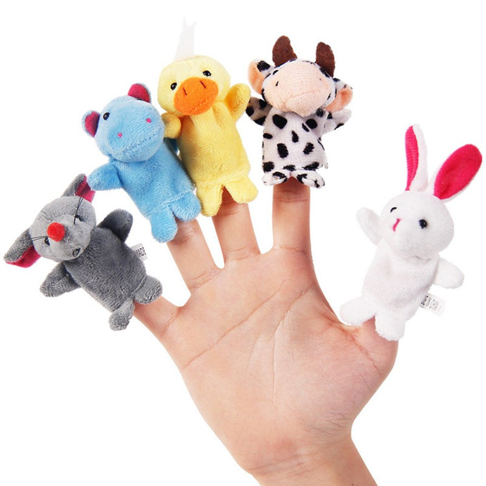 1PC Funny Baby Plush Toy Animal Finger Puppets Double Layer with Feet Storytelling Props Doll Hand Puppet Kids Toys Children Gift