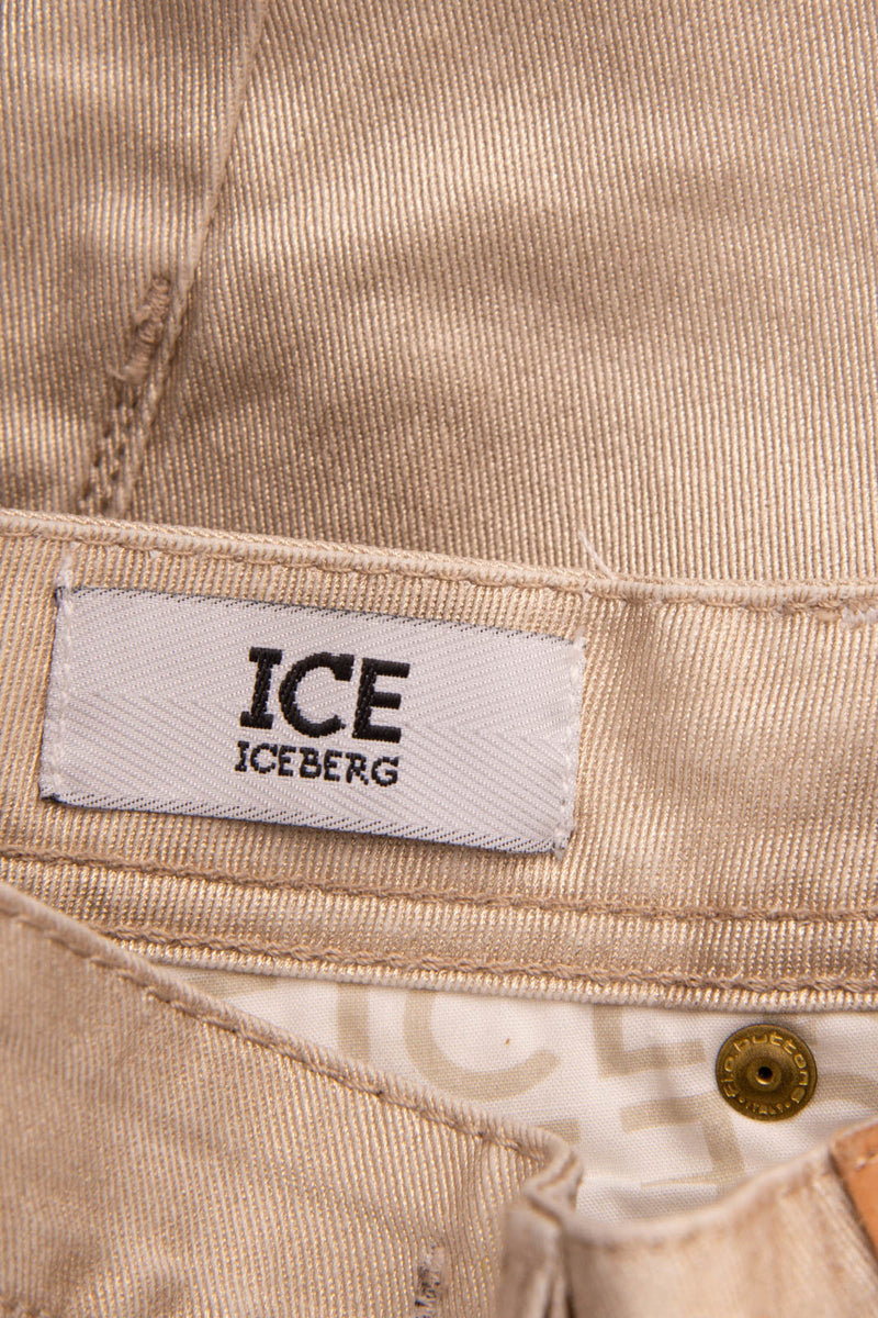 RRP €160 ICE ICEBERG Jeans Size 25 Shiny Coated Zip Fly Made in Italy