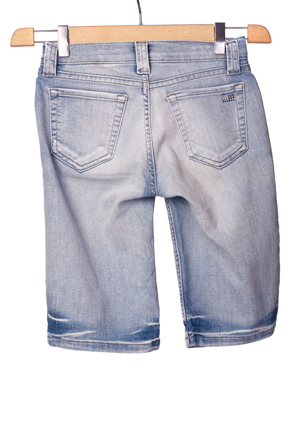 RRP €105 TOMMY HILFIGER Denim Shorts Size 2 / XS Stretch Garment Dye Worn Look