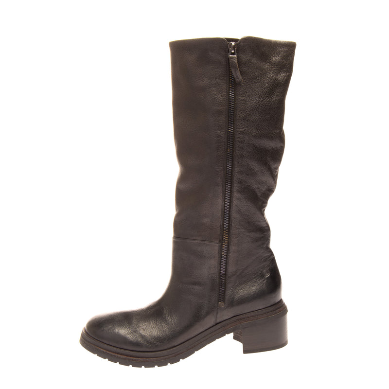 RRP €1130 MARSELL Leather Mid-Calf Boots 39.5 UK 6.5 US 9.5 Heel Crumpled Effect