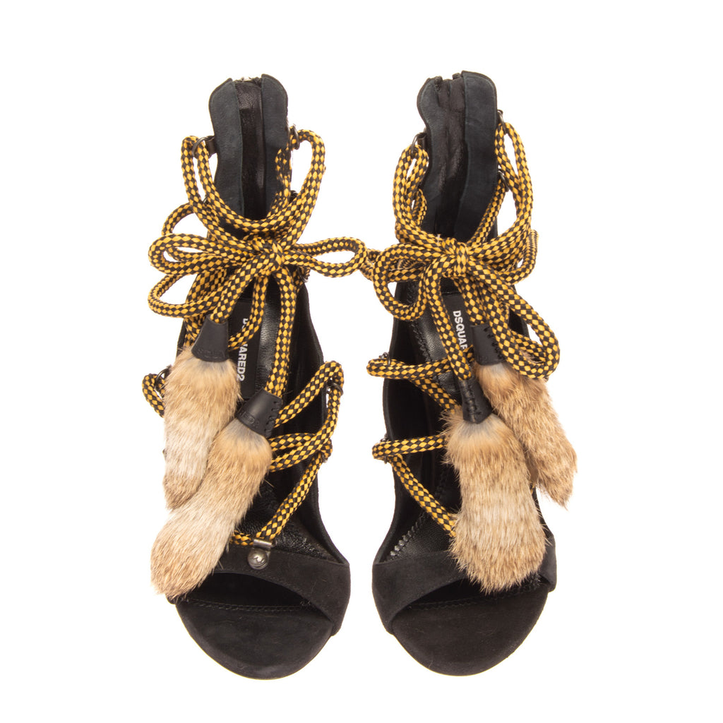RRP €1020 DSQUARED2 Leather Heel Strappy Sandals EU37 UK4 US7 Rabbit Fur Tassels