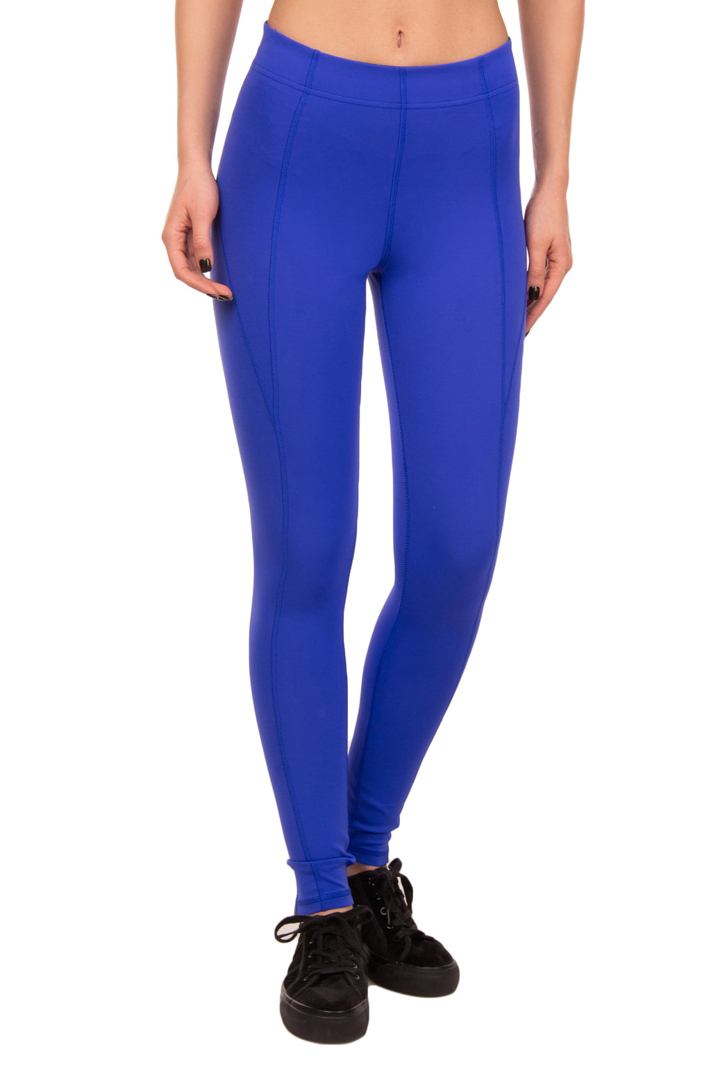 PURITY ACTIVE Leggings Size XS Stretch Blue Elasticated Waist Coated Logo
