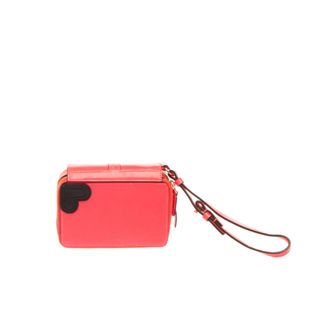 RRP €190 KATIE GRAND LOVES HOGAN Leather Wristlet Clutch Wallet Made in Italy