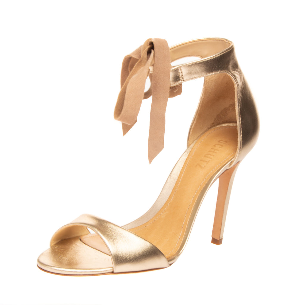 RRP €140 SCHUTZ Leather Ankle Tie Sandals Size 39 UK 7 US 9 Heel Metallic Effect