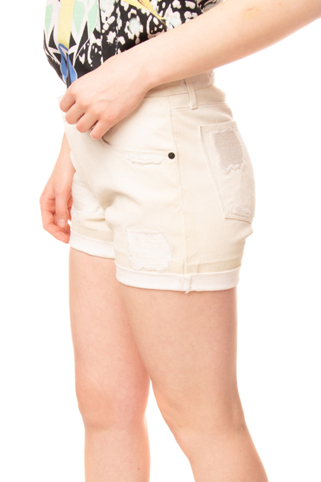 RRP €760 RTA Leather Shorts Size 26 Distressed Style Contrast Turn-up Cuffs