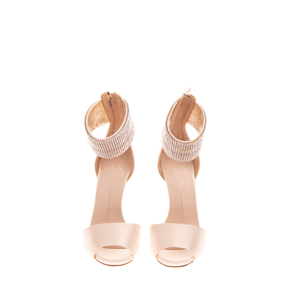 RRP €1305 GIUSEPPE ZANOTTI DESIGN Satin Ankle Strap Sandals Size 35 UK 2 US 5