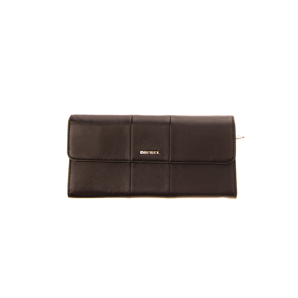 DIESEL AMAZONITE S Leather Clutch Long Wallet Crumpled Logo Detail Popper Flap