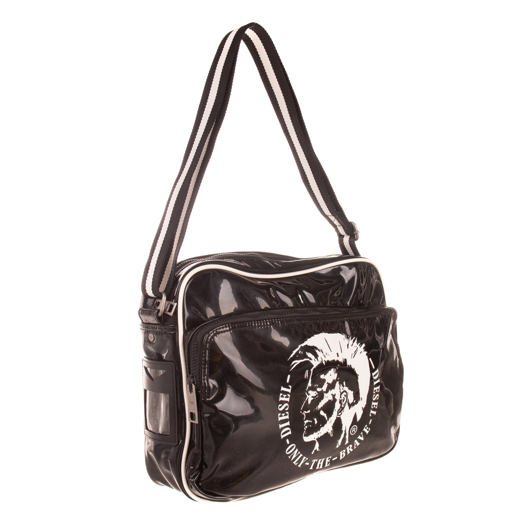 "DIESEL ""SHINY HAPPY DAYS"" POTSIE Crossbody Bag Large PU Leather Mohawk Logo"