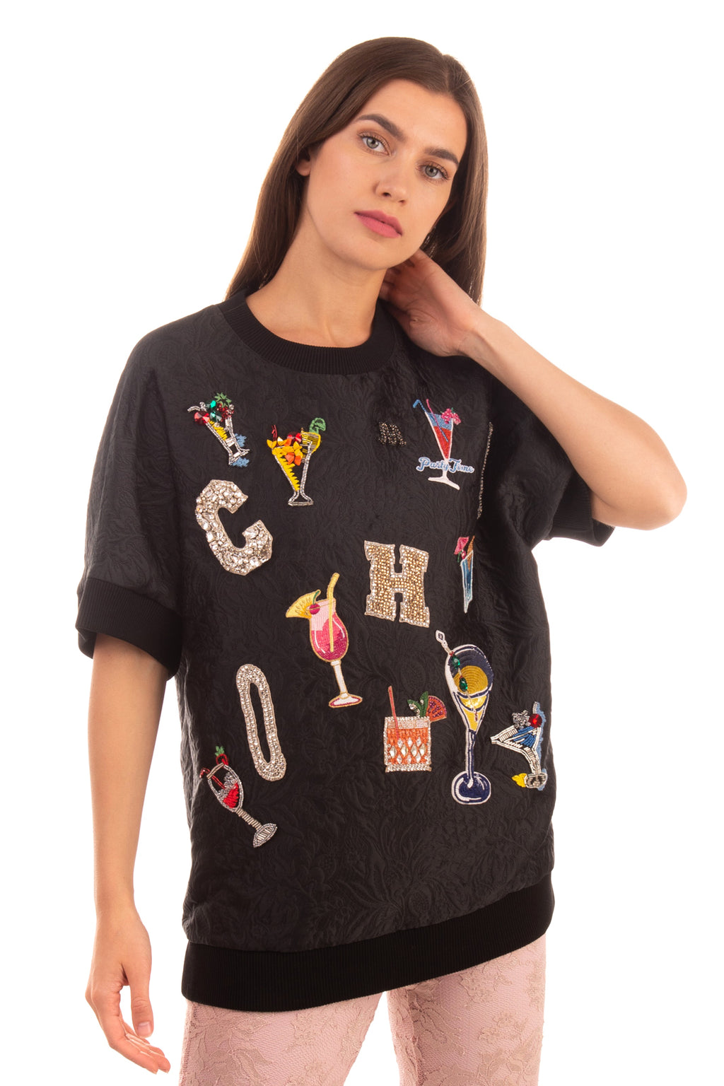 RRP €1975 DOLCE & GABBANA Cocktail Crystal Sweatshirt Size IT 40 / XS Silk Blend