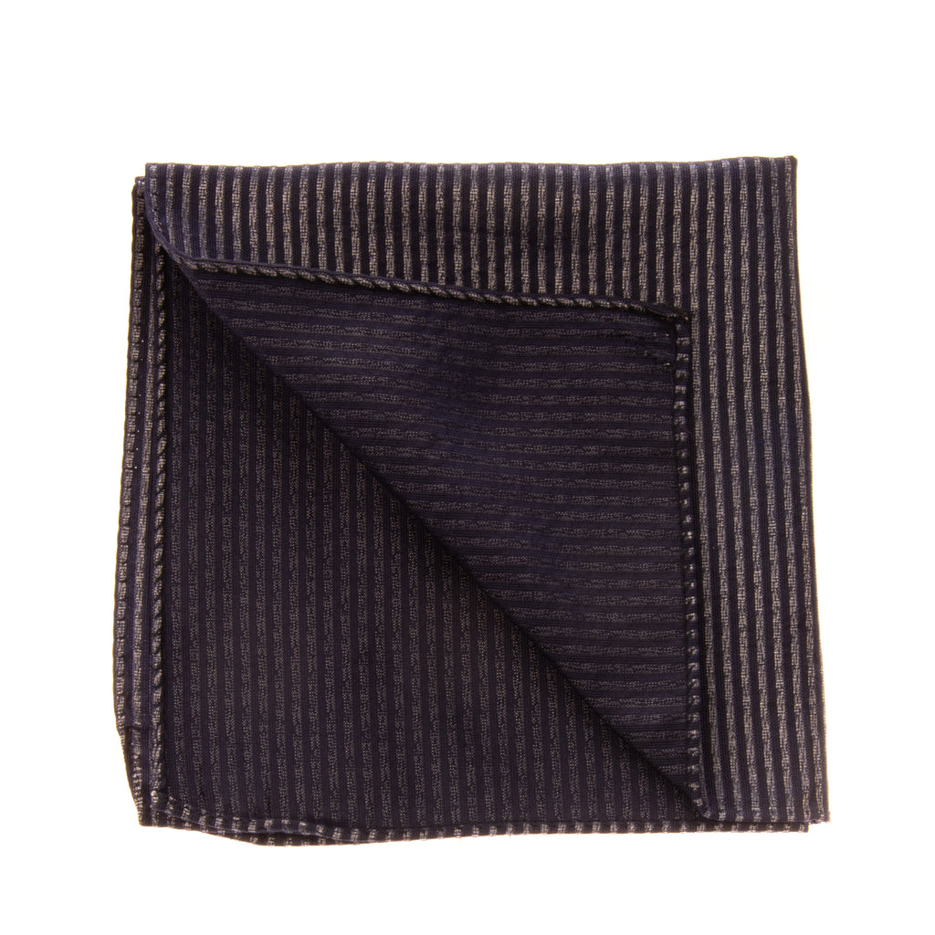ARMANI COLLEZIONI Silk Pocket Square / Handkerchief Striped Made in Italy