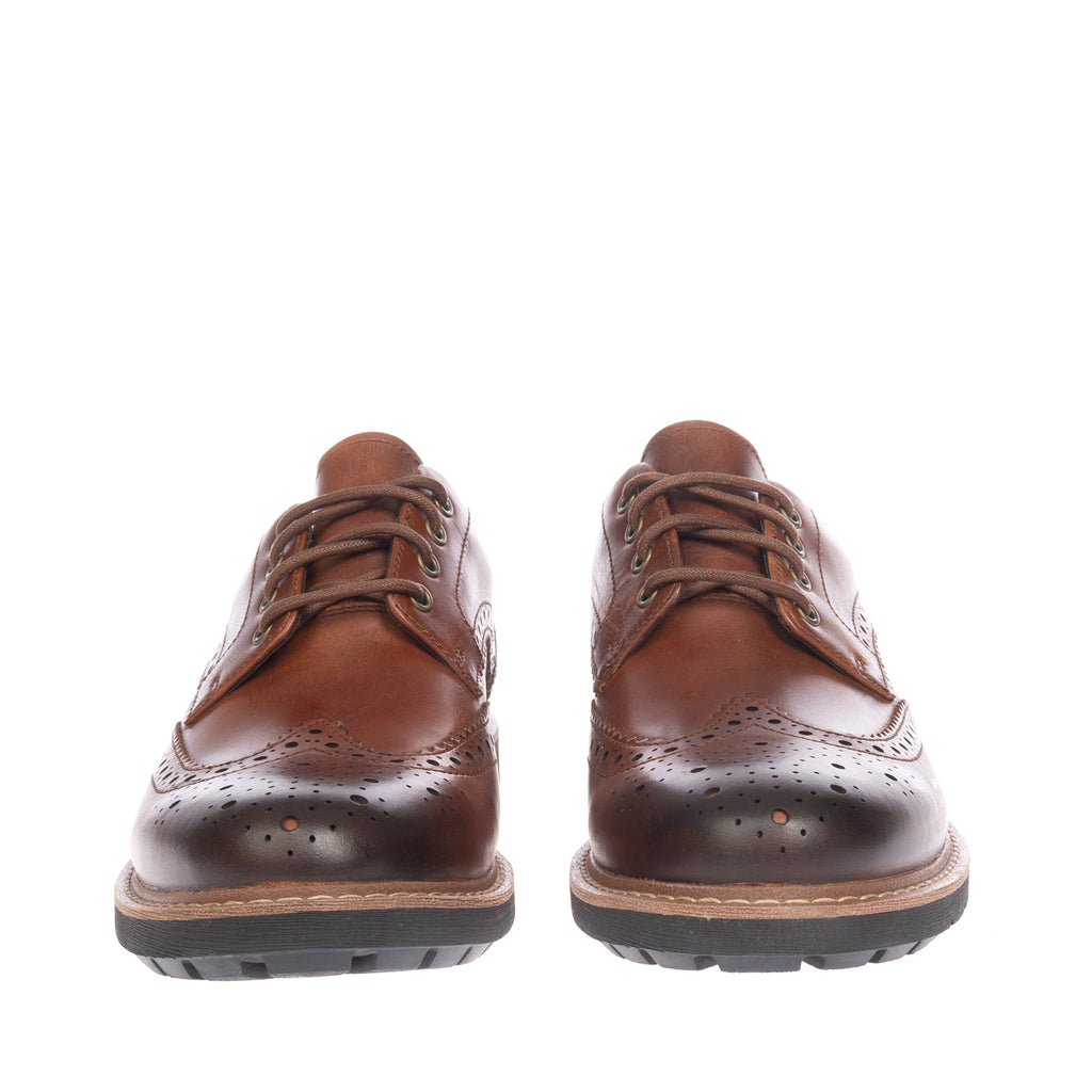 RRP €105 CLARKS Leather Brogue Derby Shoes Size 39.5 UK 6 US 7 Burnished Effect