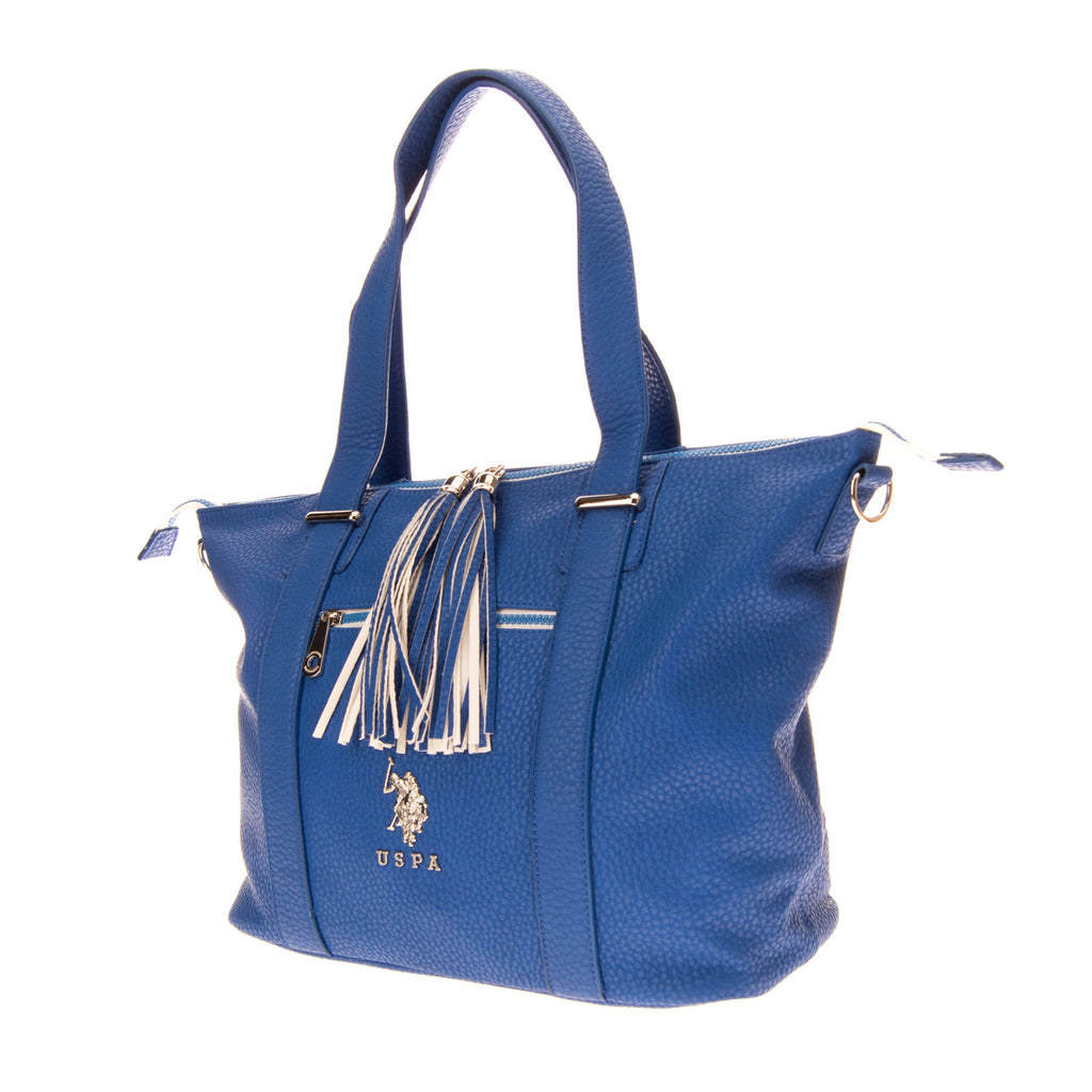 U.S.POLO ASSN. Tote Bag Large Grainy PU Leather Tassels Detachable Strap Zipped