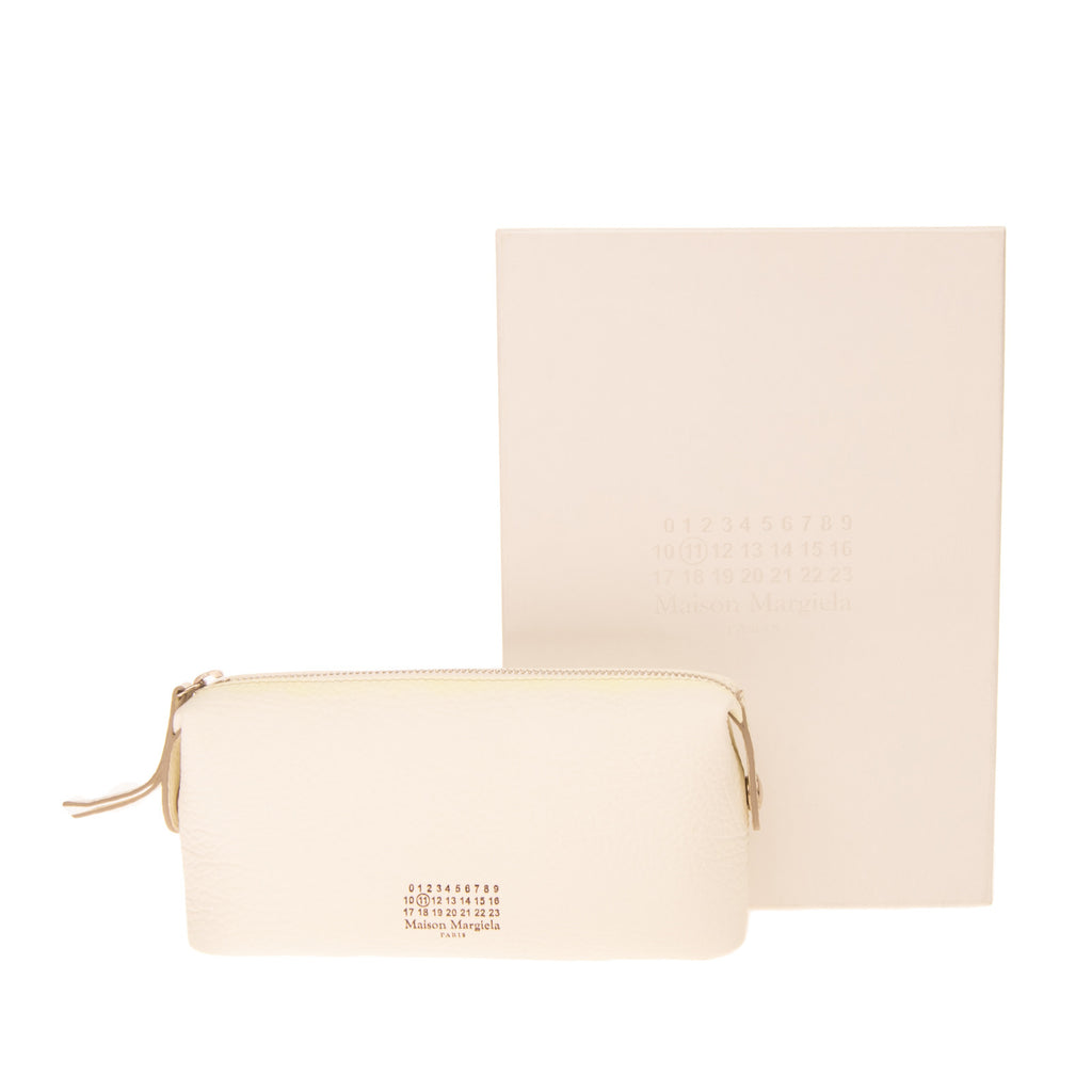 RRP €380 MAISON MARGIELA Leather Clutch Cosmetic Bag Grainy Zipped Made in Italy