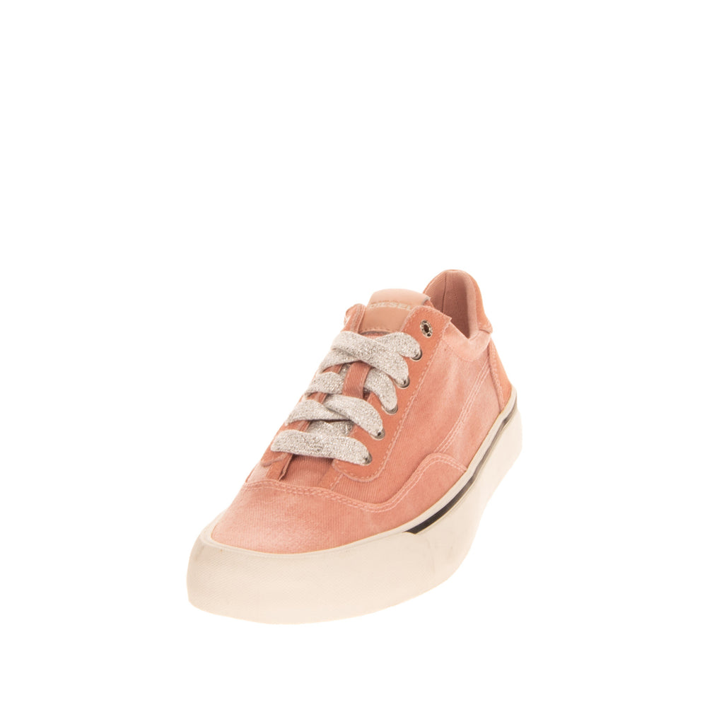 RRP €140 DIESEL S-FLIP LOW W Canvas Sneakers Size 39 UK 6 US 8.5 Lame Lace Up