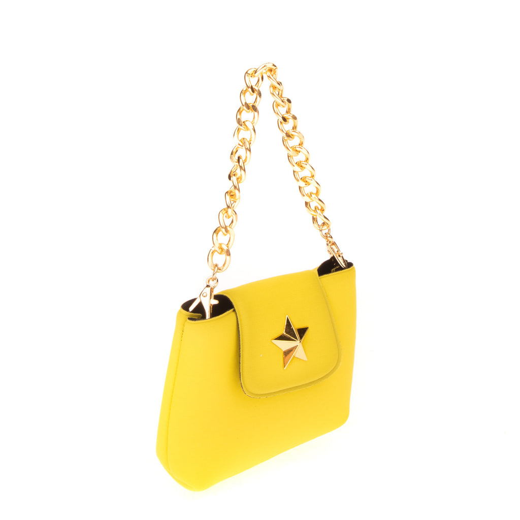 LA FILLE DES FLEURS Neoprene Mini Clutch Handbag Chain Strap Magnetic Flap
