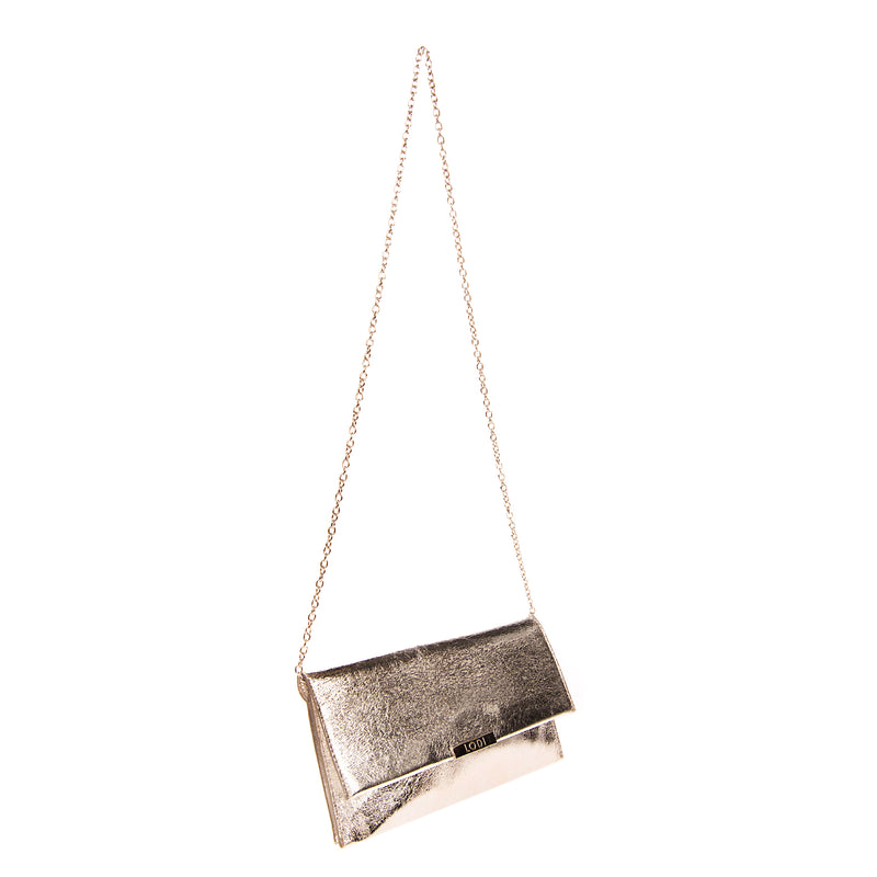 RRP €140 LODI Clutch Bag Metallic Synthetic Leather Chain Strap Magnetic Flap