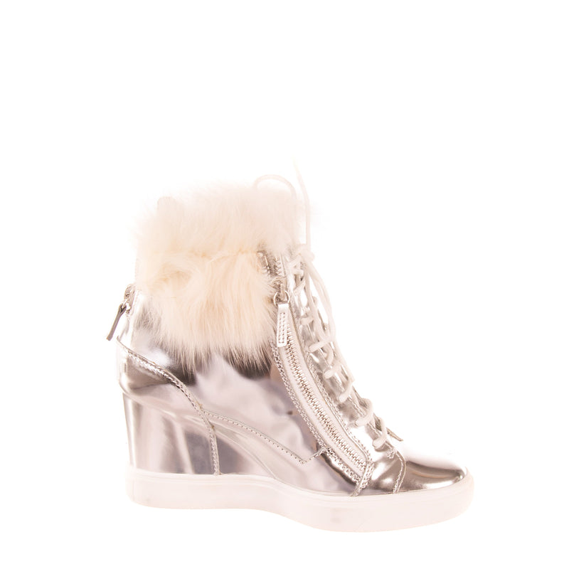 RRP €930 GIUSEPPE ZANOTTI DESIGN Leather Sneakers Boots EU 38 UK 5 US 8 Fox Fur