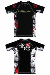 BULL TERRIER -MUSHIN- Rash Guard Short Sleeve Black/White