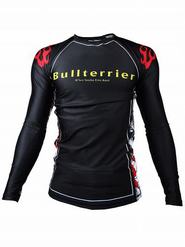 BULL TERRIER -MUSHIN- Rash Guard Long Sleeve Black/White
