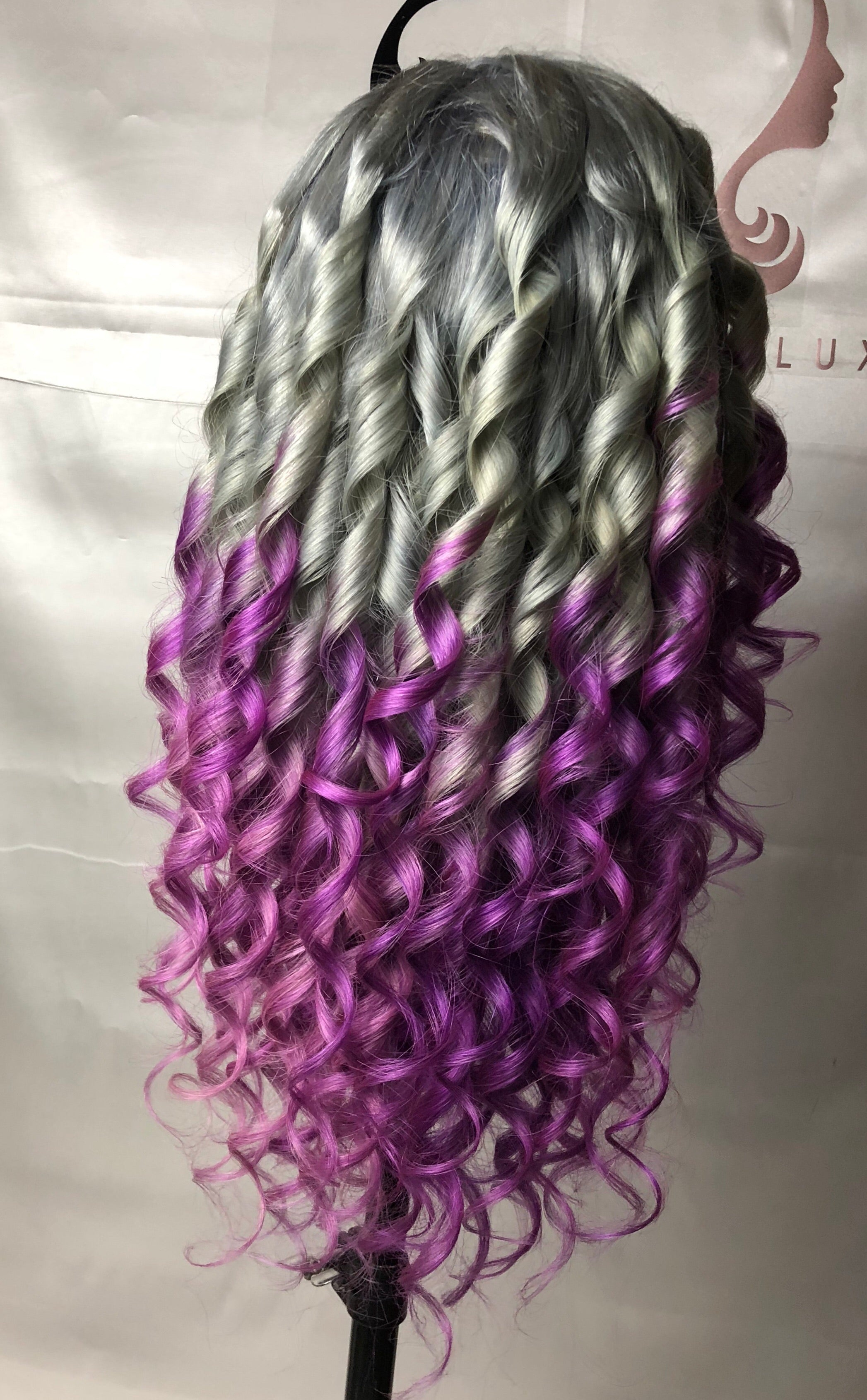 Lace Front Wig Custom Color Silver/ Purple