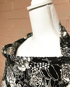 Black and White Floral Nursing Cover