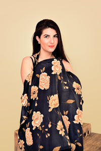 Neutral Floral Silky Nursing Cover