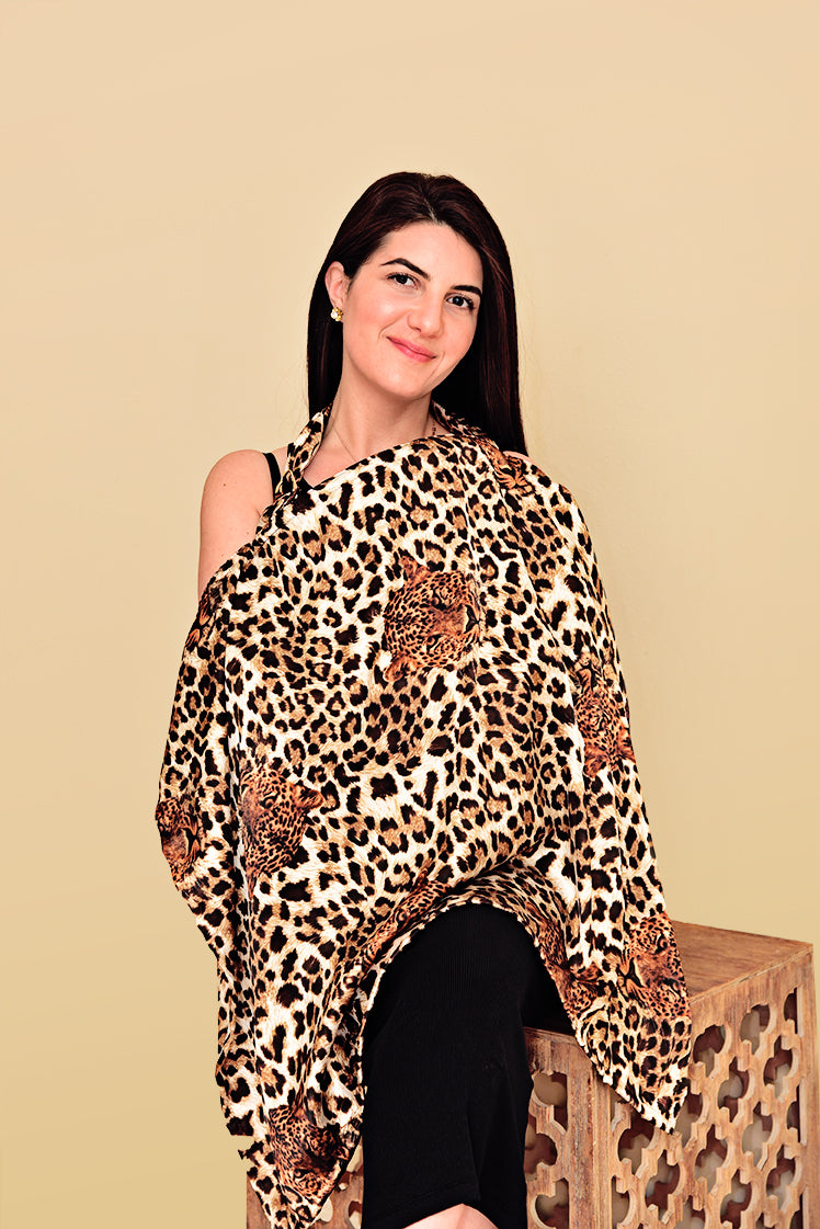 Satin Leopard Print Nursing Cover