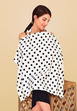 Load image into Gallery viewer, Black & White Polka Dot Nursing Cover