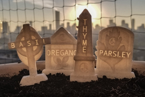 Herb Tombstone Graveyard Garden Stakes || gothic goth headstone zombie home decor plant gardening accessories spooky witch graveyard