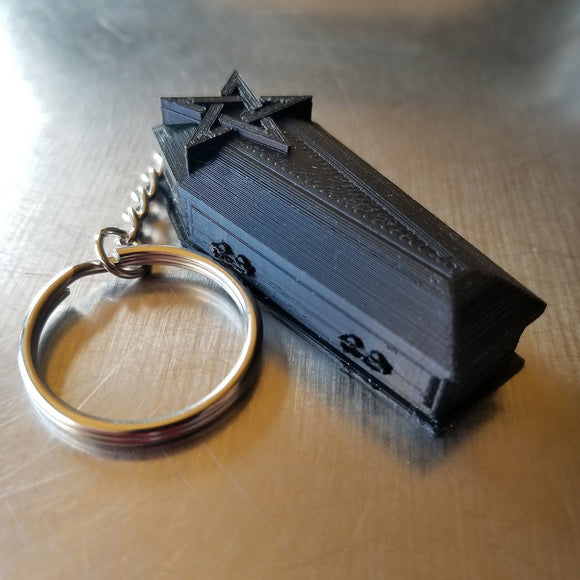 Coffin Keychain || goth key ring gothic pendant accessories vampire coffin mortuary cemetery casket medical jewelry