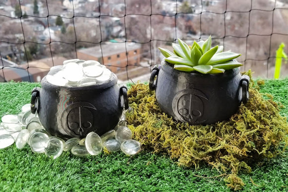 Cauldron Succulent Planter  || gothic garden accessories gardening pot makeup brush holder witches cauldron halloween wicca home decor