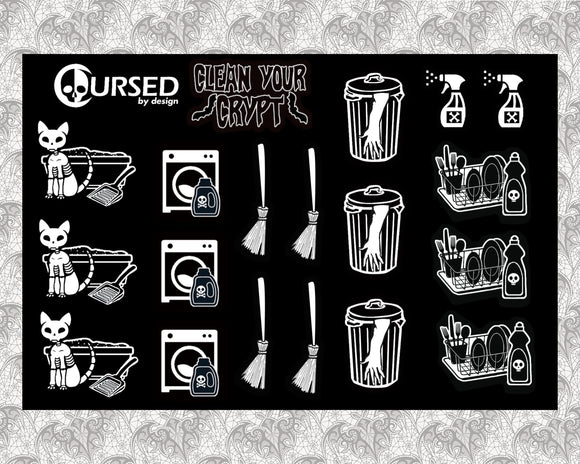Clean your Crypt Sticker Sheet || Stickers Witchy Gothic washi tape stationery planner scrapbook
