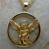 Angel with her Dog in 14k gold